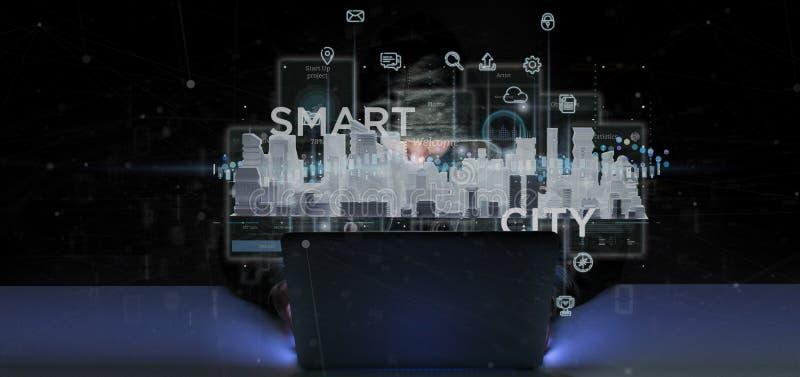 Hackera m??czyzna trzyma M?drze miasta interfejs u?ytkownika z ikony, stats i dane 3d renderingiem, royalty ilustracja