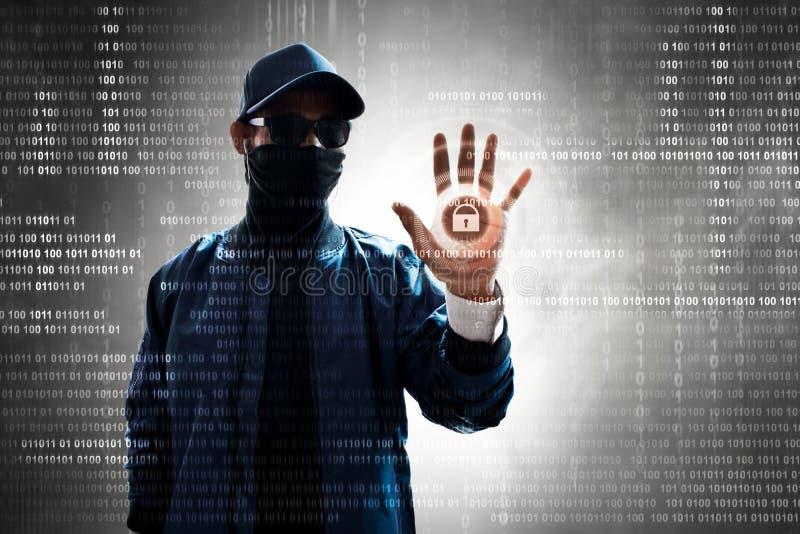 Hackera macania ekran otwierać dane obrazy stock