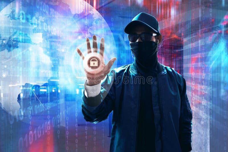 Hackera macania ekran otwierać dane zdjęcie royalty free