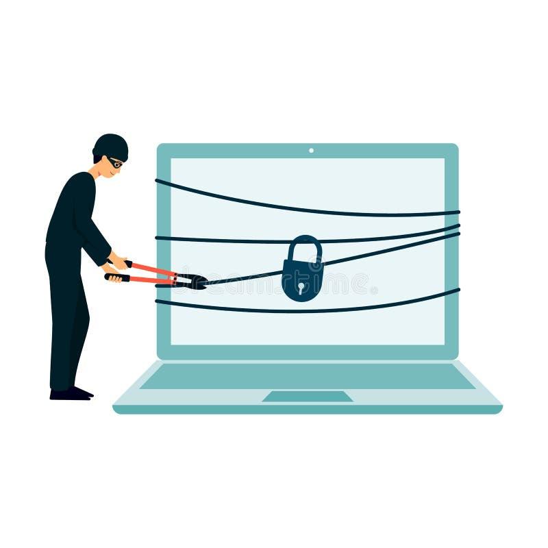 Hackera złodzieja łamanie w bezpieczeństwo komputerowe, postać z kreskówki mężczyzna sieka kędziorek i łańcuch na nowożytnym lapt ilustracja wektor