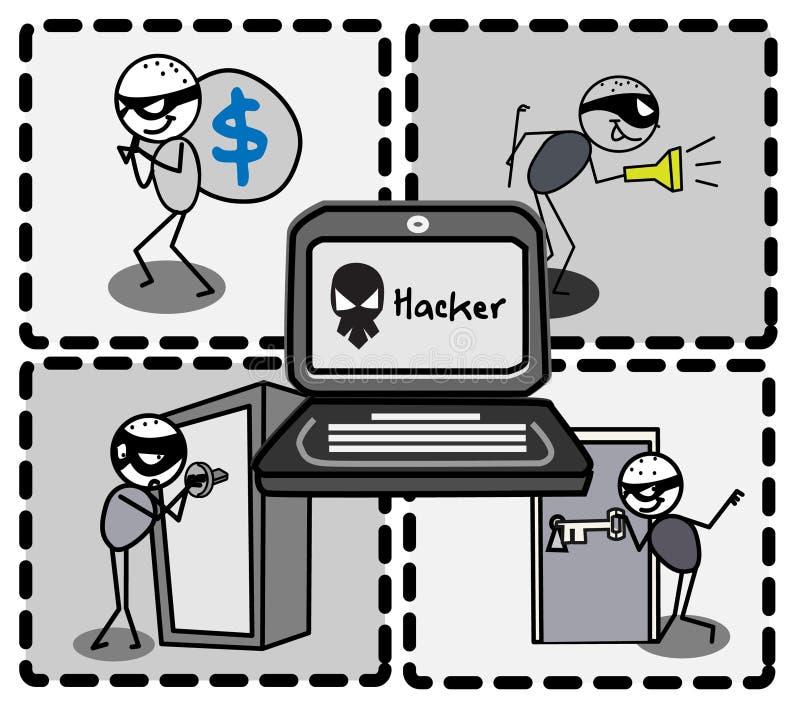 Hackera złodzieja pieniądze   royalty ilustracja