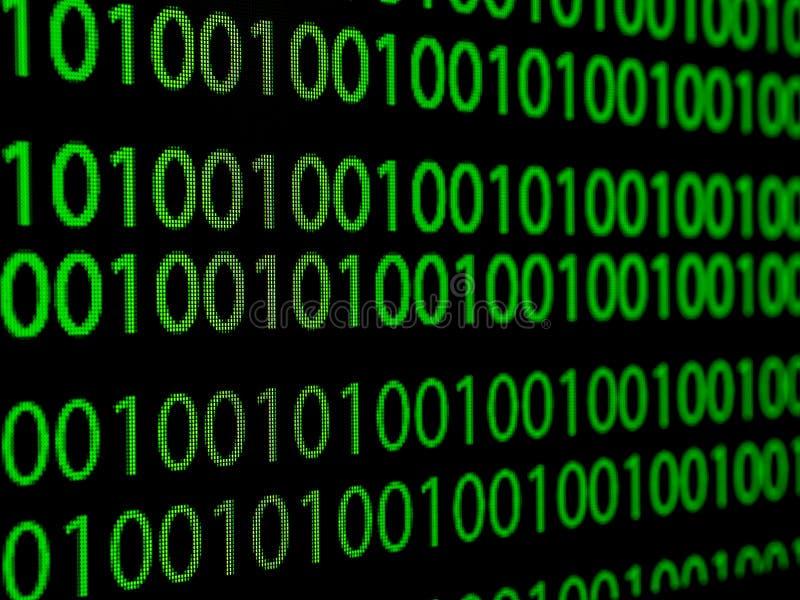Hackerkonzept-Computerbinär code grünen Text auf schwarzem backgro lizenzfreie abbildung