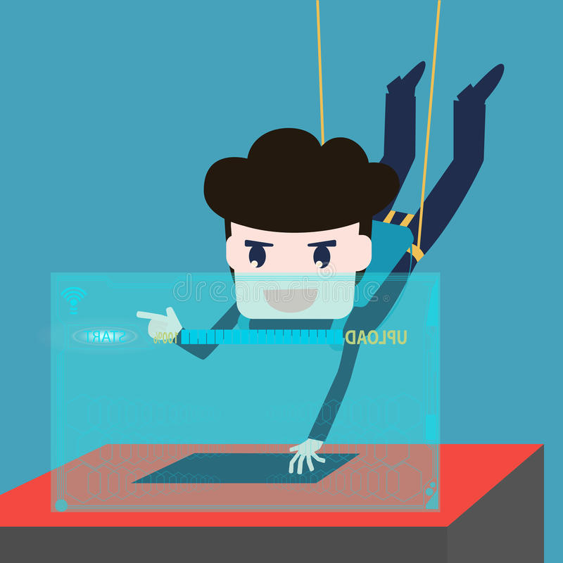 Hackers abseiling steal data from computer royalty free illustration
