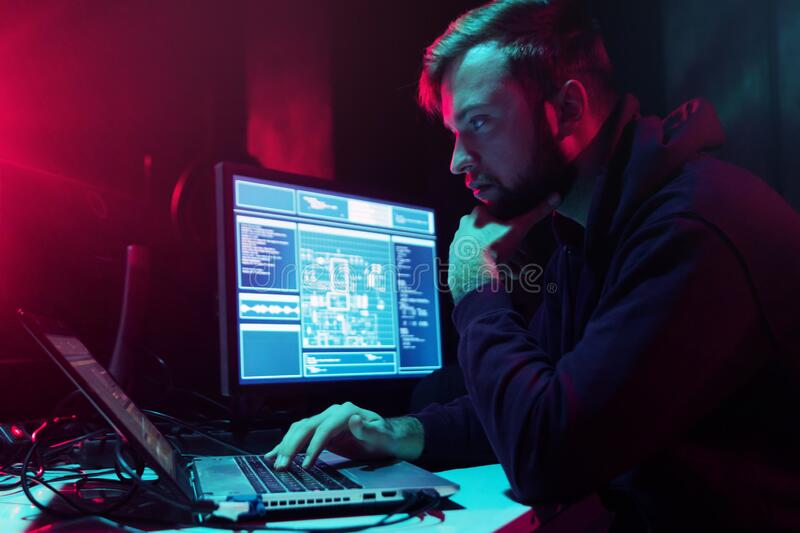 Hackers breaking server using multiple computers and infected virus ransomware. Cybercrime, information technology. Phishing mail concept stock photography