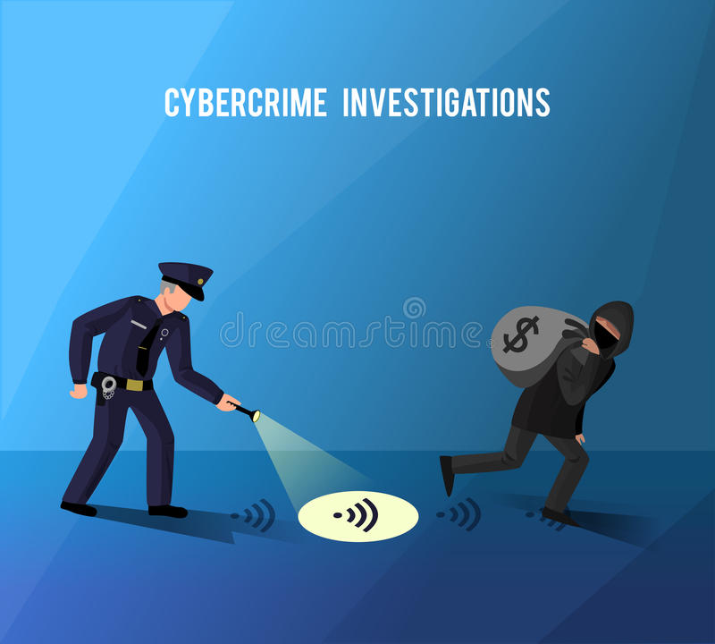 Hackers Cybercrime Prevention Investigation Flat Poster stock illustration