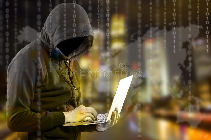 Hackers programmer look and search dat for hack information. And data from user account royalty free stock photo
