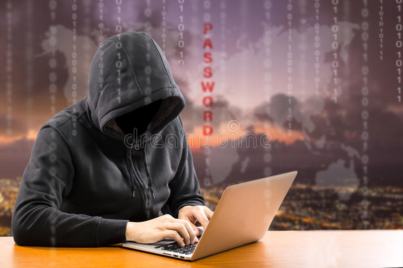 Hackers programmer using computer laptop. For hack information and data from user account royalty free stock photos