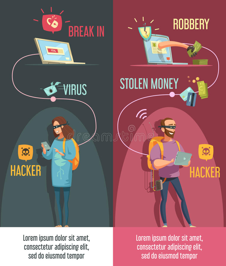 Hackers 2 Retro Vertical Cartoon Banners stock illustration
