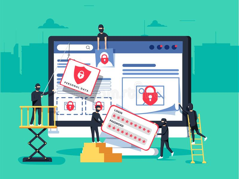 Hackers robbing computer. people in black masks stealing data and money. Thiefs stealing confidential data documents from computer useful for anti phishing and stock illustration