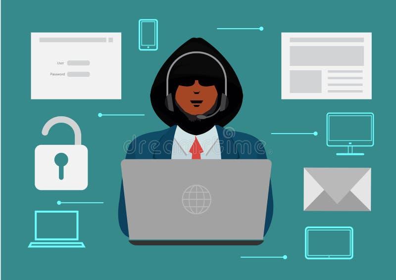 Hackers steal information. Hacker stealing personal information. Hacker unlock information, steal and crime computer data. illustr royalty free illustration