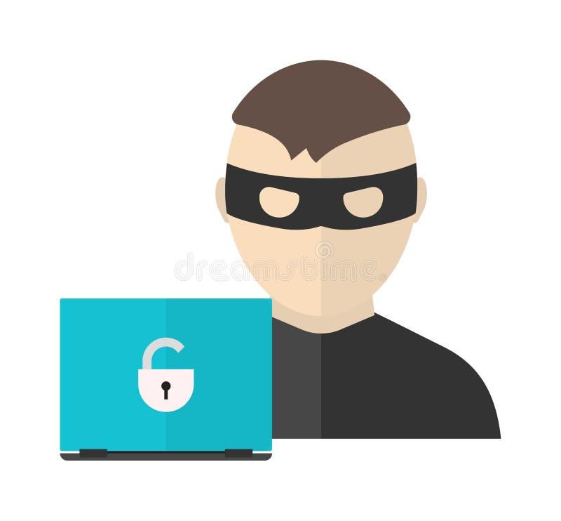 Hackertätigkeits-Vektorillustration in der flachen Designart Hacker, Internet-Sicherheitskonzept lizenzfreie abbildung