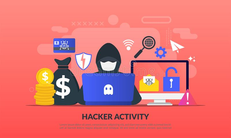 Hackertätigkeitskonzept, Sicherheit, die, on-line-Diebstahl, Verbrecher, Einbrecher tragen die schwarzen Masken, persönliche Info stockbilder