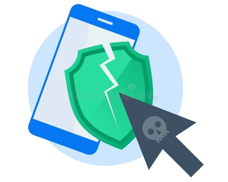 Hackery atakowali telefon komórkowego Płaski wektorowy pojęcia illustrat ilustracja wektor