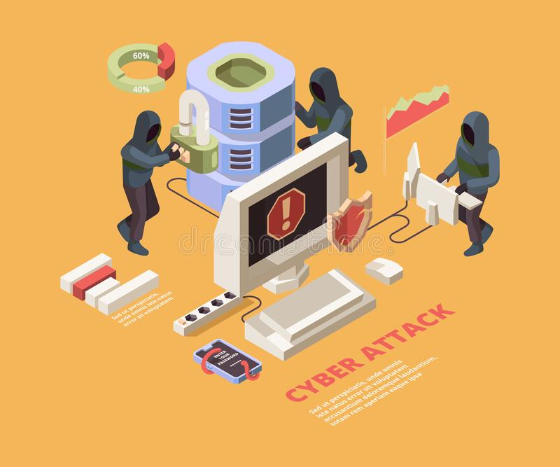 Hacking attack. Computer viruses or phishing pages cyber data protection vector isometric concept. Illustration hacker attack to data, virus trojan vector illustration