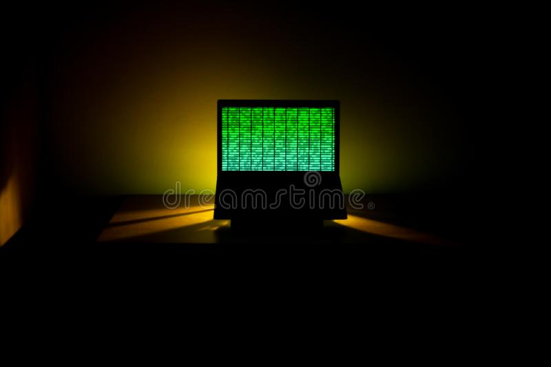 Hacking. Computer Data Processing. Binary Code on the Screen. stock photo