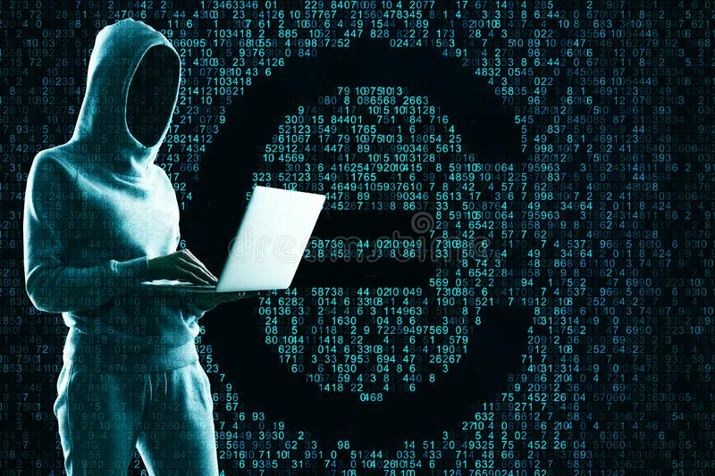 Hacking and cryptocurrency concept stock photography