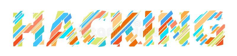 Hacking letter glitch. Digital colorful data font royalty free illustration
