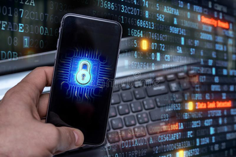 Hacking mobile devices by hackers. Data protection in the cloud. Protecting information in mobile devices. Hacking mobile devices by hackers. Data protection in royalty free stock photo