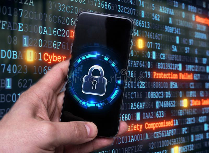 Hacking mobile devices by hackers. Data protection in the cloud. Protecting information in mobile devices. Hacking mobile devices by hackers. Data protection in royalty free stock photos