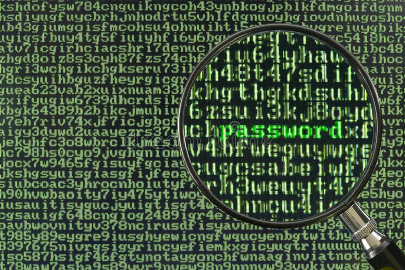 Hacking for password. Screen full of alphanumerics depicting encryption and the word password emphasized by a magnifying glass