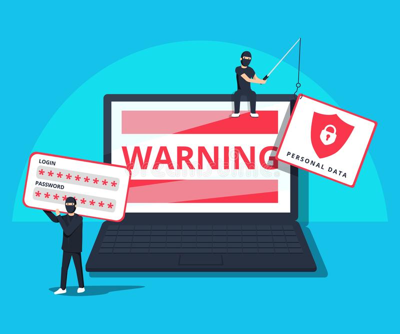 Hacking phishing attack. Flat illustration of young hacker sitting on the laptop to hack protection system. royalty free illustration