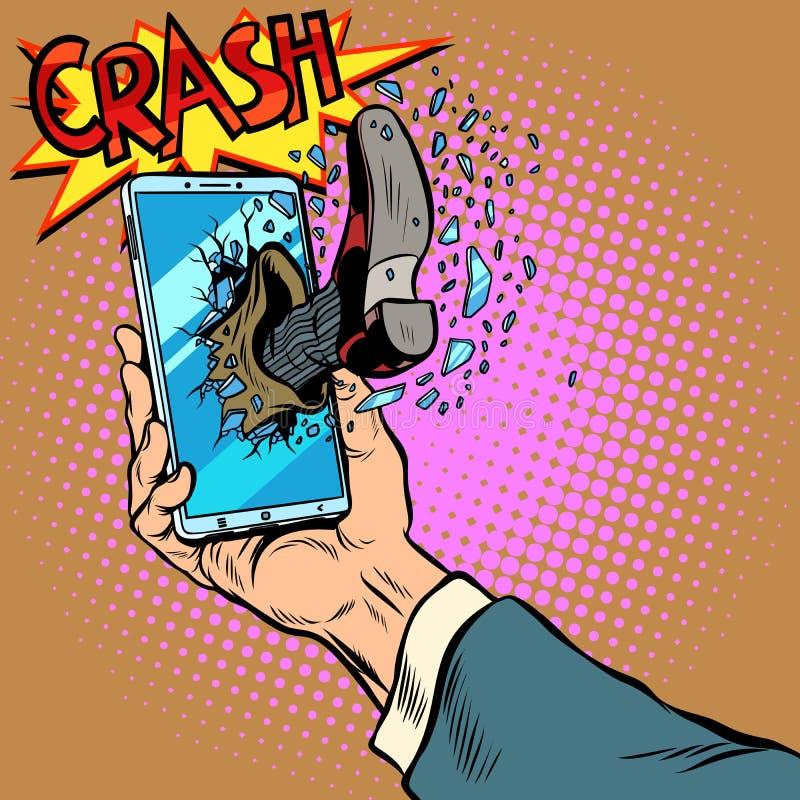 Hacking the phone, concept. Leg breaks smartphone screen. Pop art retro vector illustration comic cartoon kitsch drawing vector illustration