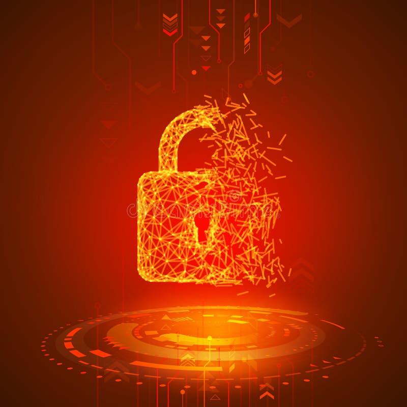 Hacking program or network. Broken padlock on red technology background. Antivirus security system. Computer virus attack. Vector. Illustration royalty free illustration