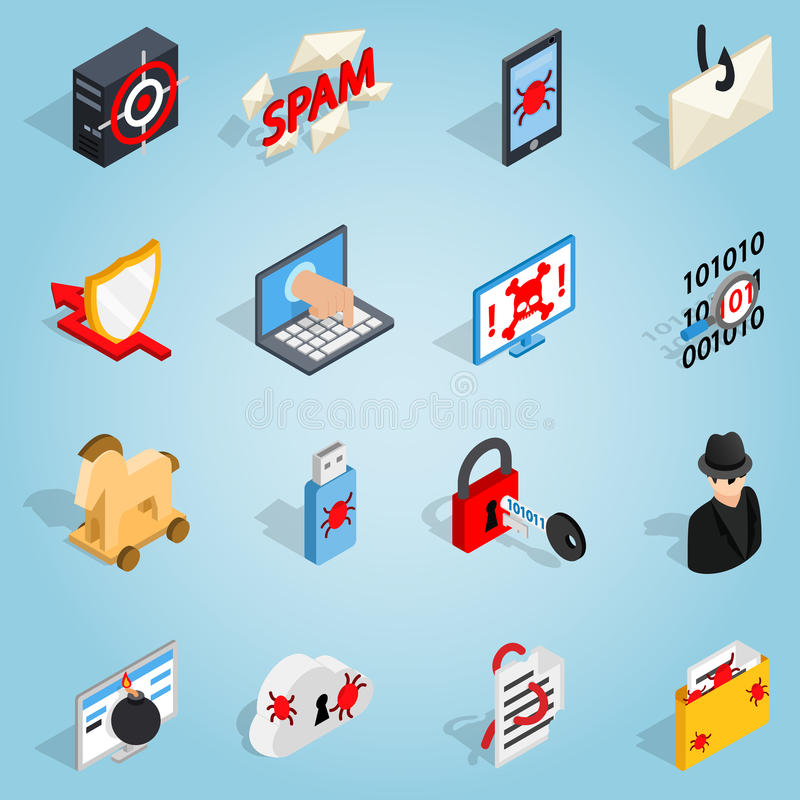 Hacking set icons, isometric 3d style royalty free illustration