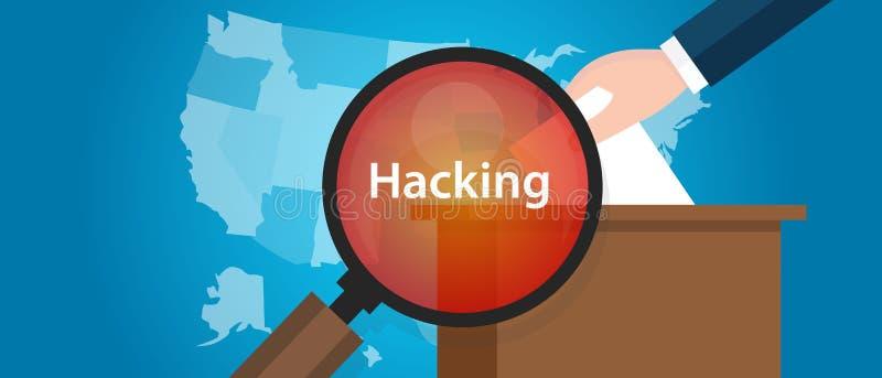 Hacking US election America democracy vector illustration