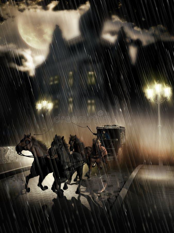 Hackneypaard-cabine die de stad verlaten vector illustratie