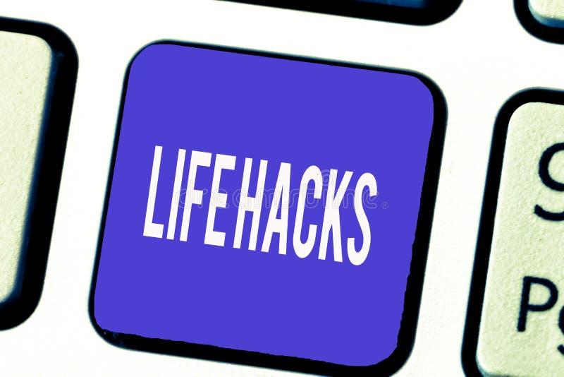 Hackor för liv för ordhandstiltext Affärsidé för strategiteknik till dagliga aktiviteter för analysisage effektivare royaltyfri bild