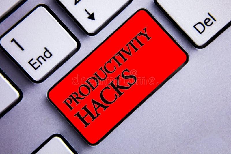 Hackor för produktivitet för ordhandstiltext Affärsidé för att hacka flera skärm för produktivitet för effektivitet för lösningsm arkivfoto