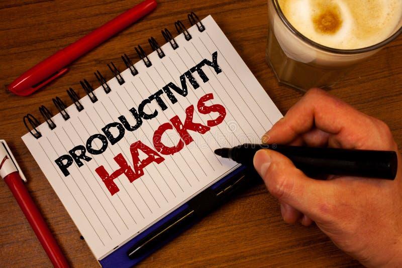 Hackor för produktivitet för ordhandstiltext Affärsidé för att hacka svart M för fattningsförmåga för hand för produktivitet för  arkivfoton