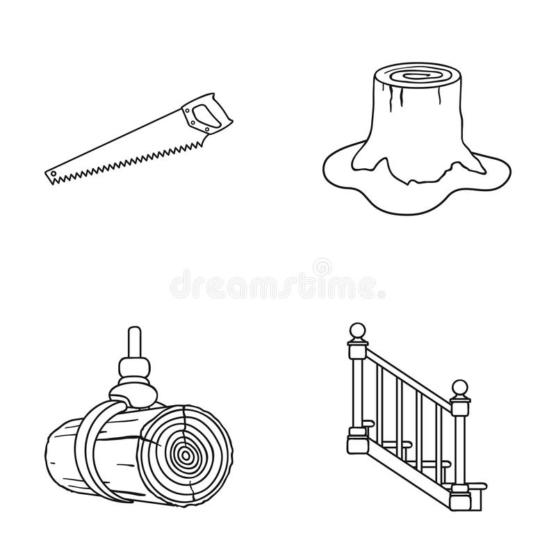A hacksaw, a stump, a staircase with handrails, a beam. A sawmill and timber set collection icons in outline style. Vector symbol stock illustration vector illustration