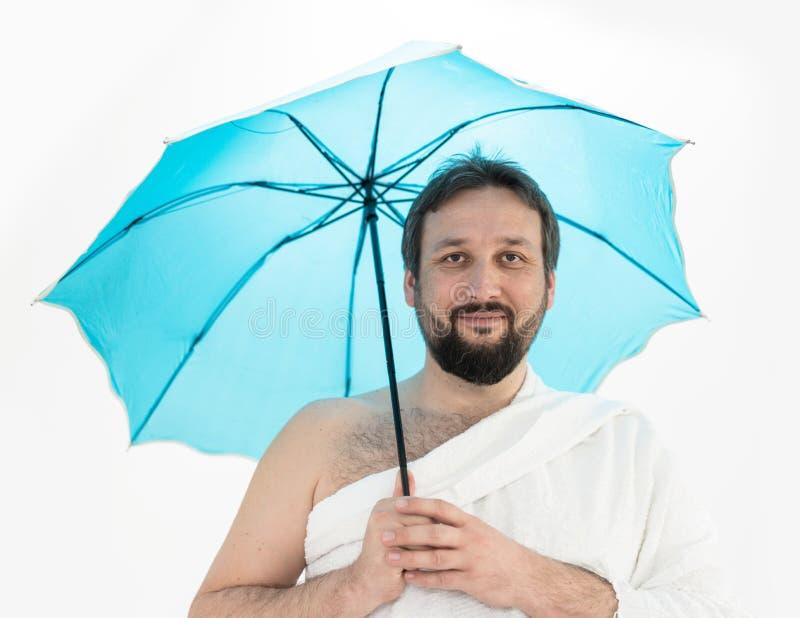 Had?a pielgrzym z parasolem zdjęcie stock