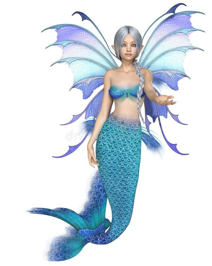 Hada azul brillante de la sirena de la fantasía, tentando ilustración del vector