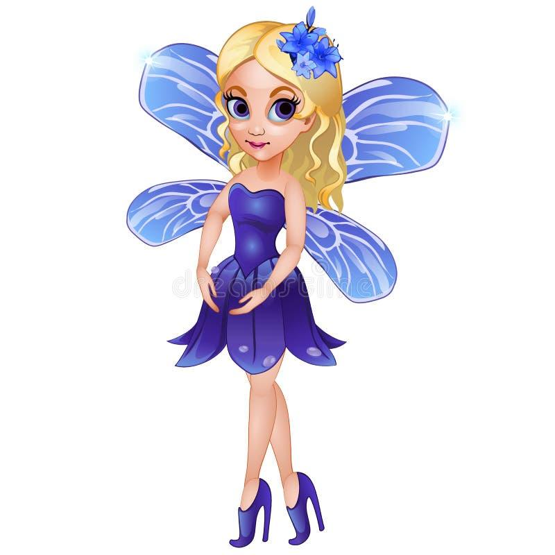 Hada con las alas en vestido azul ilustración del vector