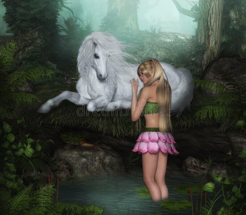 Hada de la flor con el unicornio blanco stock de ilustración