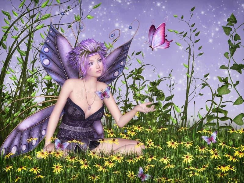 Hada de la mariposa stock de ilustración