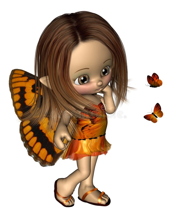 Hada de la mariposa de Toon - naranja libre illustration