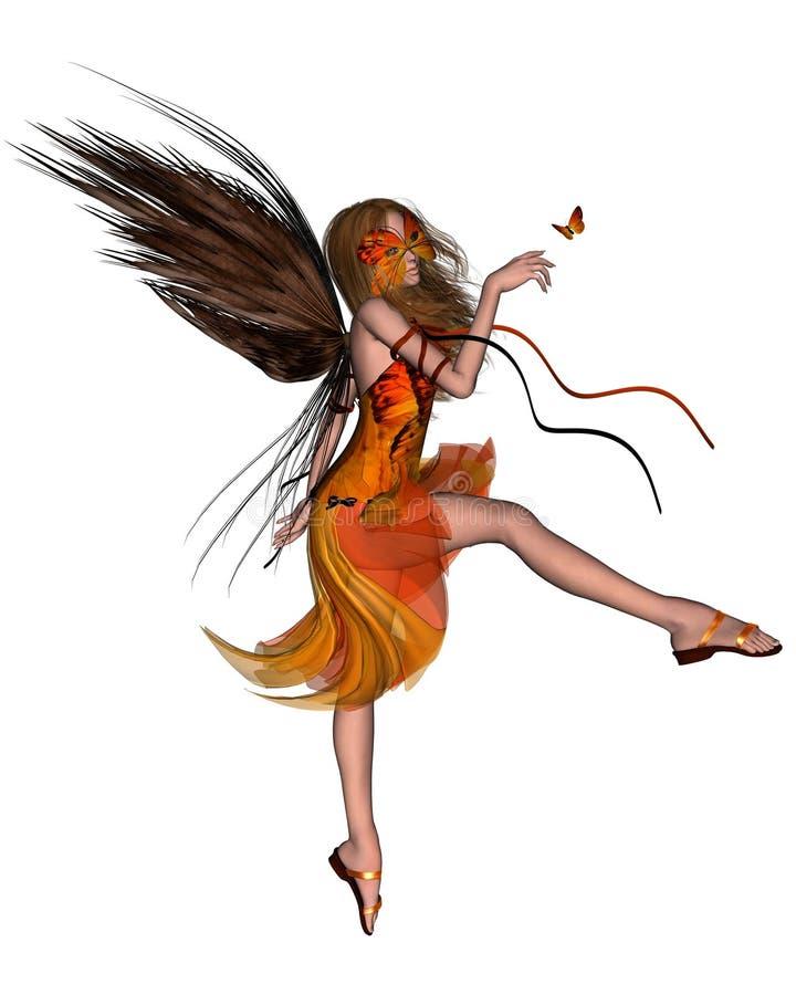 Hada de la mariposa - naranja stock de ilustración