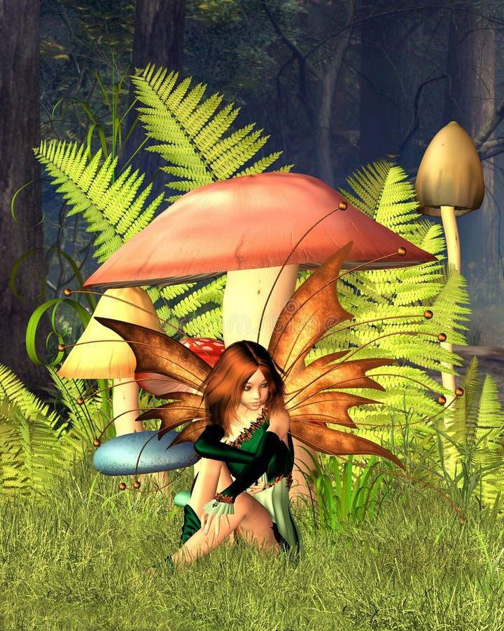 Hada de la seta del arbolado con el fondo del bosque ilustración del vector