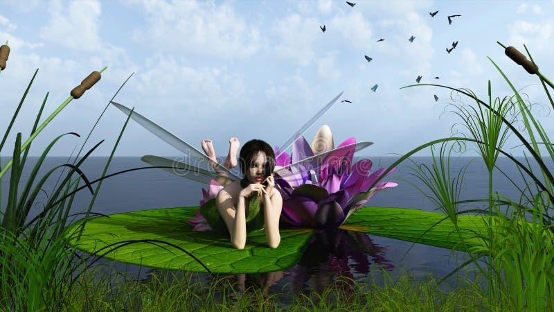 Hada de Waterlily en el lago stock de ilustración