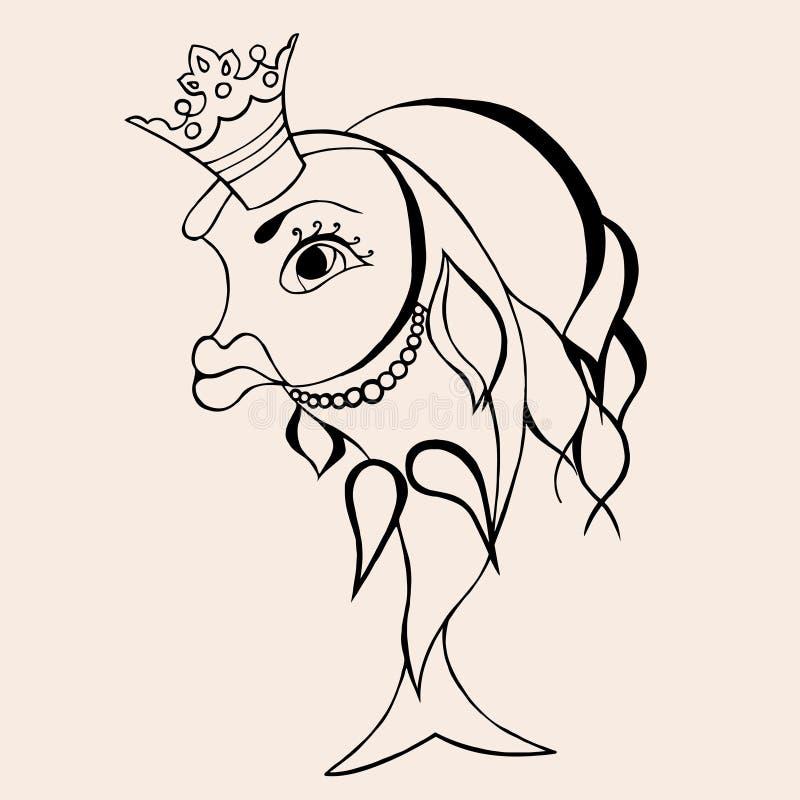 Hada del pez de colores con la corona libre illustration
