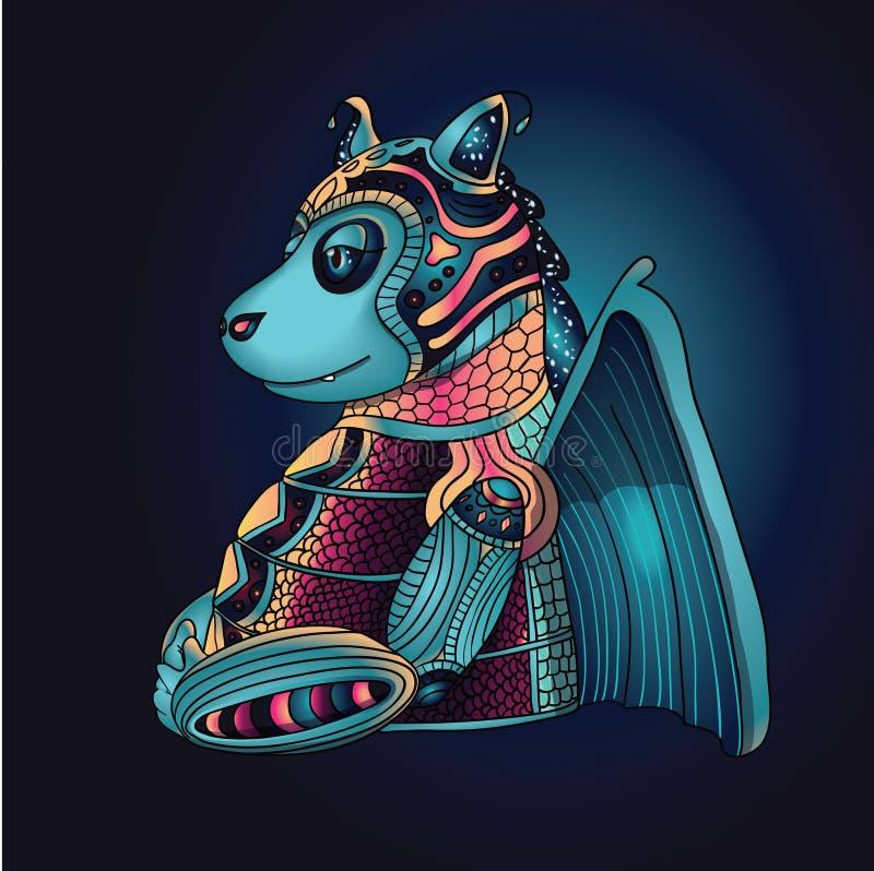 Hada Dragon Torso, ejemplo del vector del monstruo de la historieta ilustración del vector