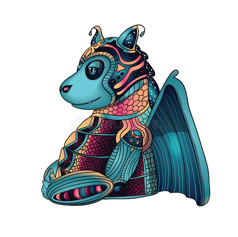 Hada Dragon Torso, ejemplo del vector del monstruo de la historieta en blanco stock de ilustración