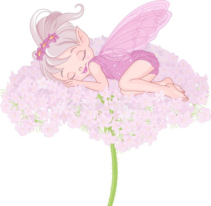 Hada durmiente del duendecillo stock de ilustración