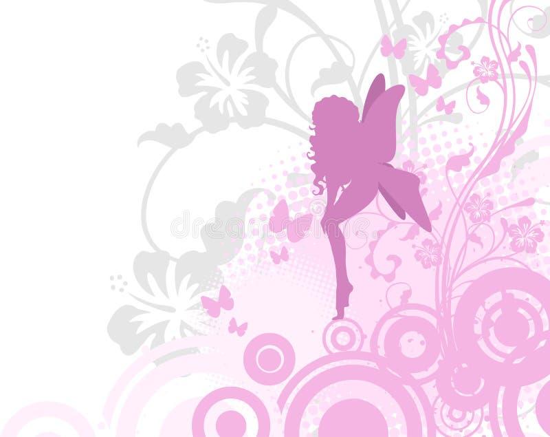 Hada en jardín rosado stock de ilustración