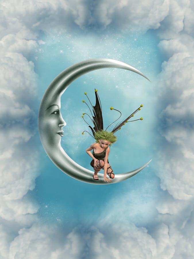 Hada en la luna stock de ilustración