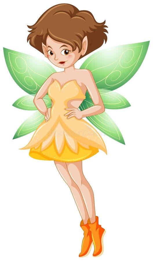 Hada en traje amarillo y alas verdes stock de ilustración